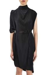 Topshop Women's Boutique Drape Funnel Neck Silk Dress