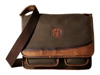 Sts Ranchwear The Foreman Messenger Dark Khaki Canvas Leather Messenger Bags Brown