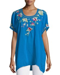 Johnny Was Blooming Bouquet Short Sleeve Embroidered Blouse Women's