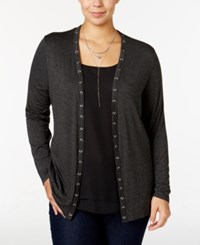 Belldini Plus Size Lace Up Cardigan Heather Charcoal