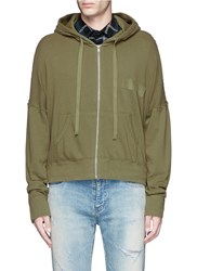 R 13 'Civilian' French Terry Zip Hoodie Green