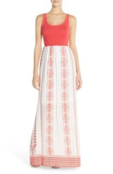 Women's Fraiche By J Floral Print Cutout Maxi Dress Red Rena Print Coral Solid Top