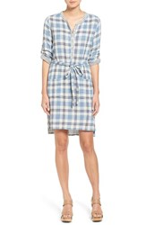 Velvet By Graham And Spencer Women's Plaid Cotton Shirtdress Blue