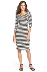 Painted Threads Stripe Rib Knit Body Con Dress Black Ivory