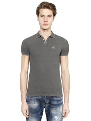 Dsquared Ciro The Dog Cotton Pique Polo Dark Grey