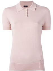Joseph Knitted Polo Shirt Pink And Purple