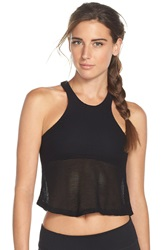 Blue Life Crop Mesh Tank Black
