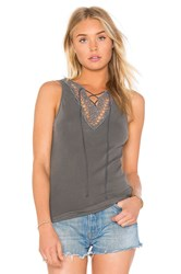 Project Social T Lace Up Lace Tank Charcoal