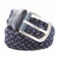 Leyva Classic Woven Leather Belt Navy Gold