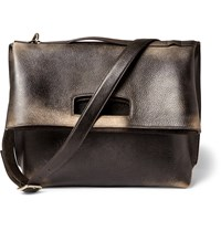 Maison Martin Margiela Foldover Distressed Leather Tote Bag Black