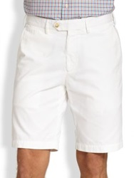 Saks Fifth Avenue Tailored Pima Cotton Shorts Navy Beige
