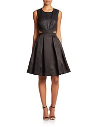 Phoebe Couture Pleated Cutout Detail Dress Black