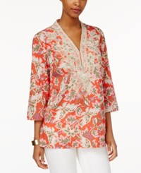 Charter Club Floral Print Embroidered Tunic Only At Macy's Modern Coral