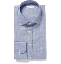 Etro Slim Fit Checked Cotton Shirt Blue