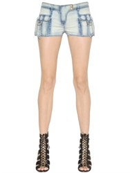 Balmain Washed Stretch Cotton Denim Shorts
