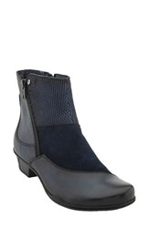 Earthr Women's Earth 'Orion' Patchwork Bootie Navy Leather