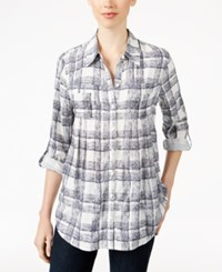 Styleandco. Style Co. Plaid Button Front Shirt Only At Macy's Cambridge Plaid Blue