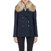 Barneys New York Fur Collar Double Breasted Jacket Midnight