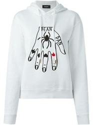 Dsquared2 Hand Print Hoodie White