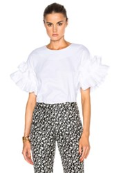 Victoria Beckham Ruffle Sleeve Top In White