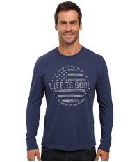 Life Is Good Land Of The Free Flag Long Sleeve Crusher Tee Darkest Blue Men's Long Sleeve Pullover