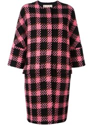 Marni Boucle Plaid Coat Black
