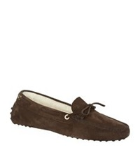 Tod's New Lacetto Shearling Slipper Brown