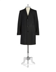 Bugatti Textured Wool Overcoat Black