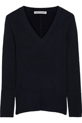 Autumn Cashmere Ribbed Knit Sweater Blue