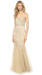 Badgley Mischka Collection Gold Cord Lace Gown
