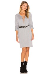 Lanston Lace Up Sweatshirt Dress Slate