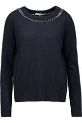 Autumn Cashmere Chain Embellished Sweater Midnight Blue