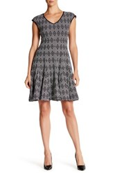 Taylor Novelty Jacquard Multi Seamed Dress Black