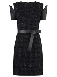 Gloria Coelho Panelled Tweed Dress Black