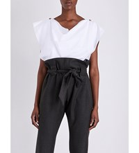 Anglomania Cowl Neck Frayed Woven Top Optical White