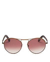 Tom Ford Jessie Aviator Sunglasses 54Mm Antique Matte Brown Metal Red Horn Gradient