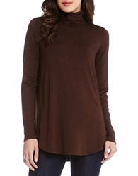 Karen Kane Long Sleeve Turtleneck Tee Brown