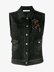 Golden Goose Jewel Embellished Denim Gilet Black Denim Multi Coloured Golden White