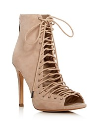 Kendall And Kylie Ginny Lace Up Open Toe Booties Natural