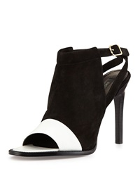 Rachel Zoe Lacey Suede And Leather High Heel Pump White Black