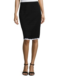 Ming Wang Textured Stripe A Line Skirt Black White