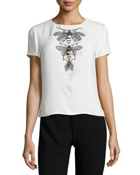 Carolina Herrera Short Sleeve Insect Print Blouse Ecru