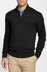 Cutter And Buck Men's 'Douglas' Merino Wool Blend Half Zip Sweater Black