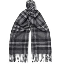 Nn.07 Nn07 Checked Wool And Cashmere Blend Scarf Anthracite