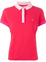 Fay Contrasting Collar Polo Shirt Red