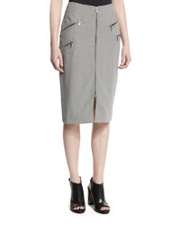 Thierry Mugler Zip Front Houndstooth Pencil Skirt Navy Off White