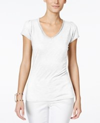 Inc International Concepts Petite V Neck Tee Bright White