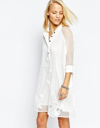 Religion Oversized Longline Shirt Dress In Sheer Lace White
