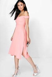 Boohoo One Shoulder Side Split Midi Skater Dress Peach