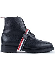 Thom Browne Pebble Grain Leatehr Classic Wingtip Boots With Commando Sole And Grosgrain Straps